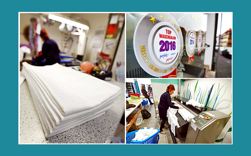Waschcenter Schweinfurt: Tischdecken mieten, Bügelservice, Wäscherei, Reinigung. Große Mangel