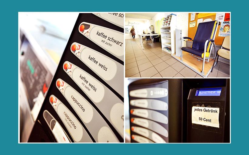 Waschsalon Erlangen: Getränkeautomat, Massagesessel