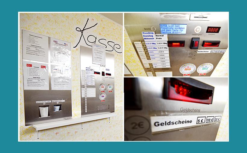 Waschsalon Erlangen: Zentralsteuerung, Waschmaschinensteuerung, Kasse-Bezahlautomat, Waschmittel Ausgabe