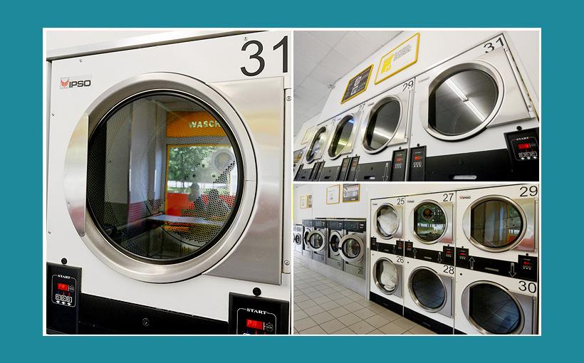 Doppelstock-Trockner-Waschsalon